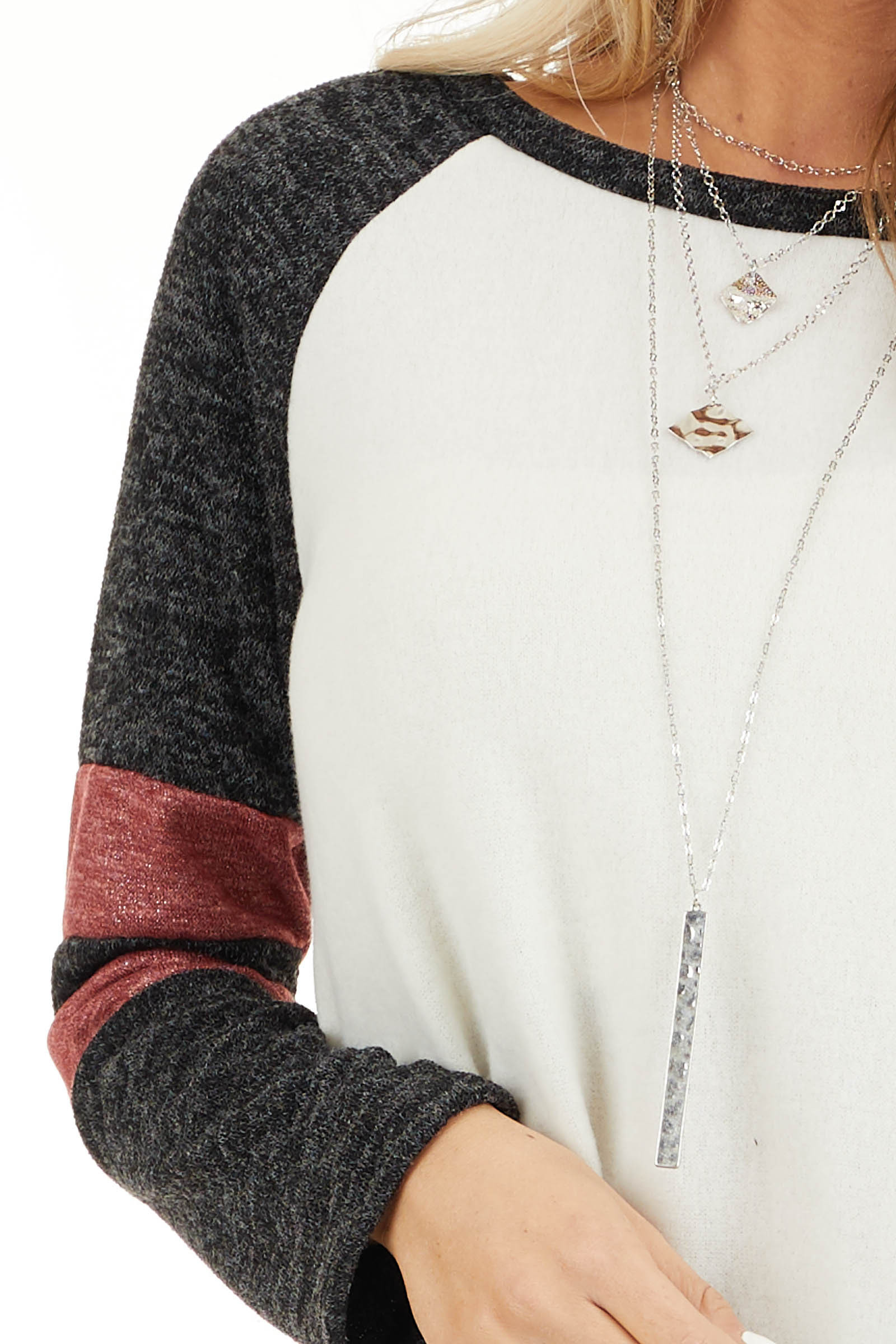 Ivory and Charcoal Long Sleeve Top with Sleeve Stripe Detail detail