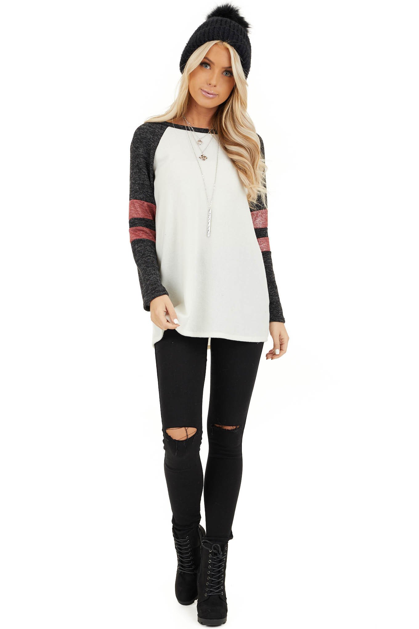 Ivory and Charcoal Long Sleeve Top with Sleeve Stripe Detail front full body