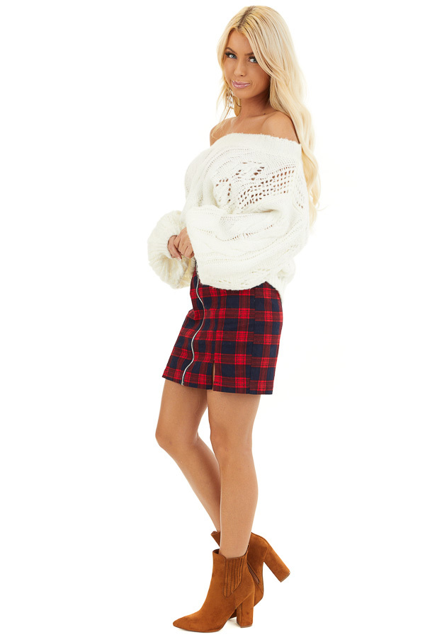 Ruby and Navy Plaid Mini Skirt with Front Closure Detail side full body