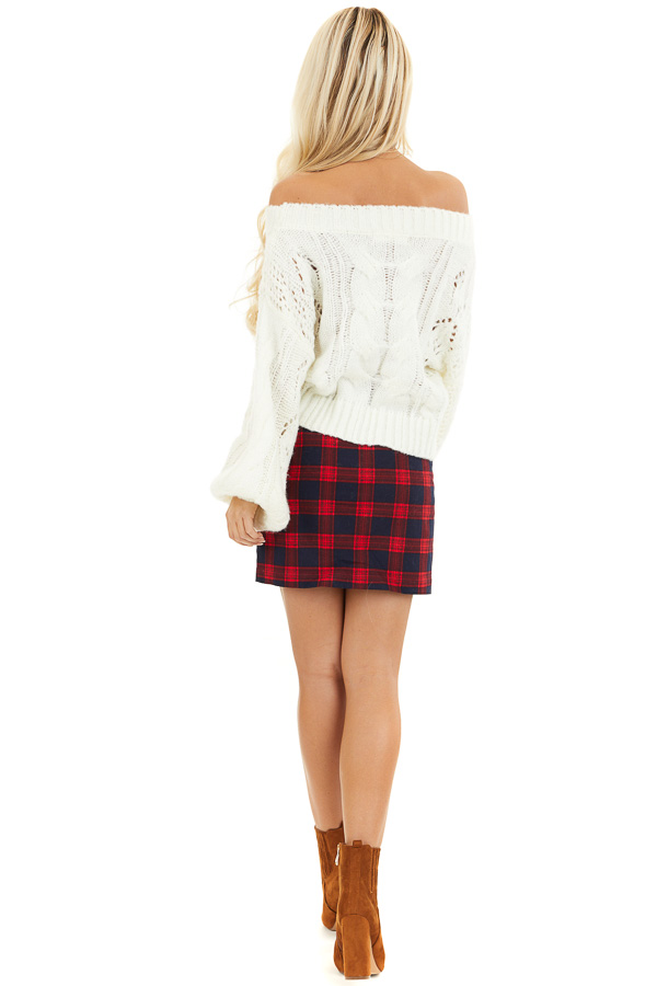 Ruby and Navy Plaid Mini Skirt with Front Closure Detail back full body