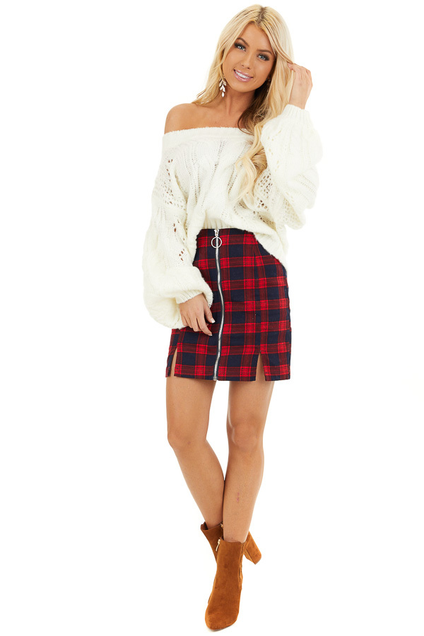 Ruby and Navy Plaid Mini Skirt with Front Closure Detail front full body