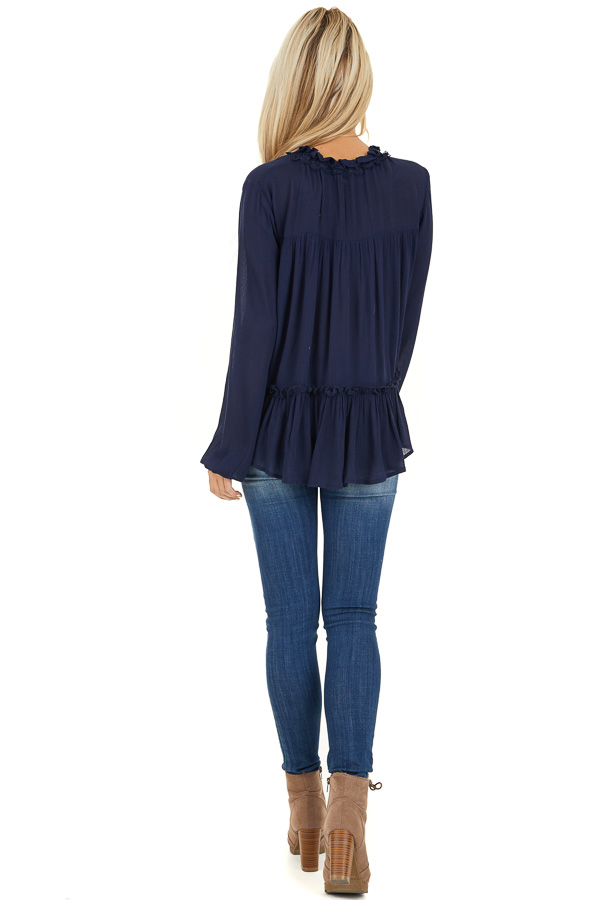Navy Long Sleeve Boho Top with Lace Neckline and Tie back full body