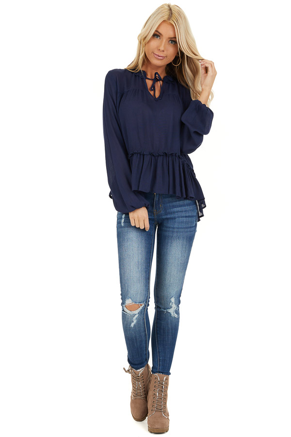 Navy Long Sleeve Boho Top with Lace Neckline and Tie front full body