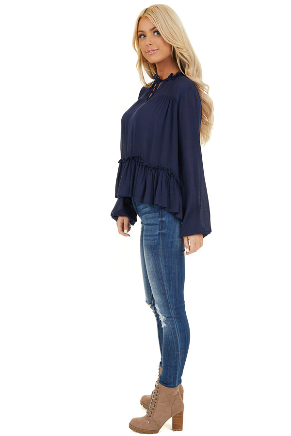 Navy Long Sleeve Boho Top with Lace Neckline and Tie side full body