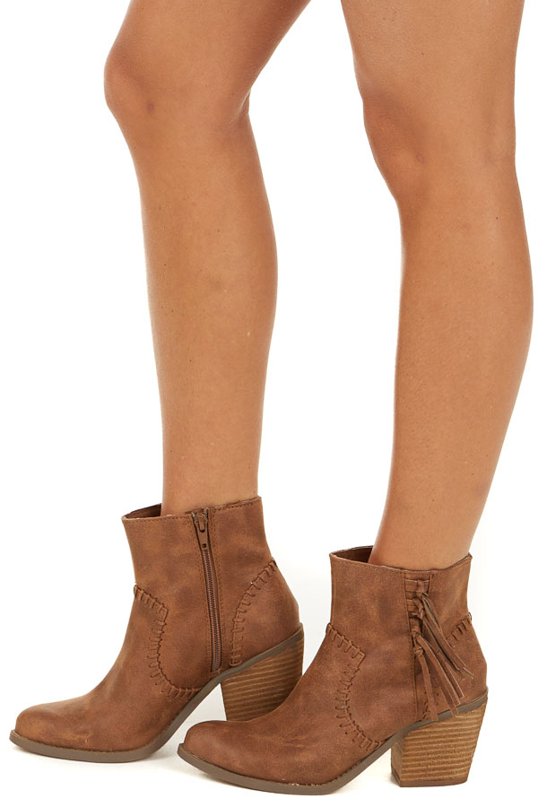 Cognac Faux Suede High Heel Bootie with Fringe Details side view