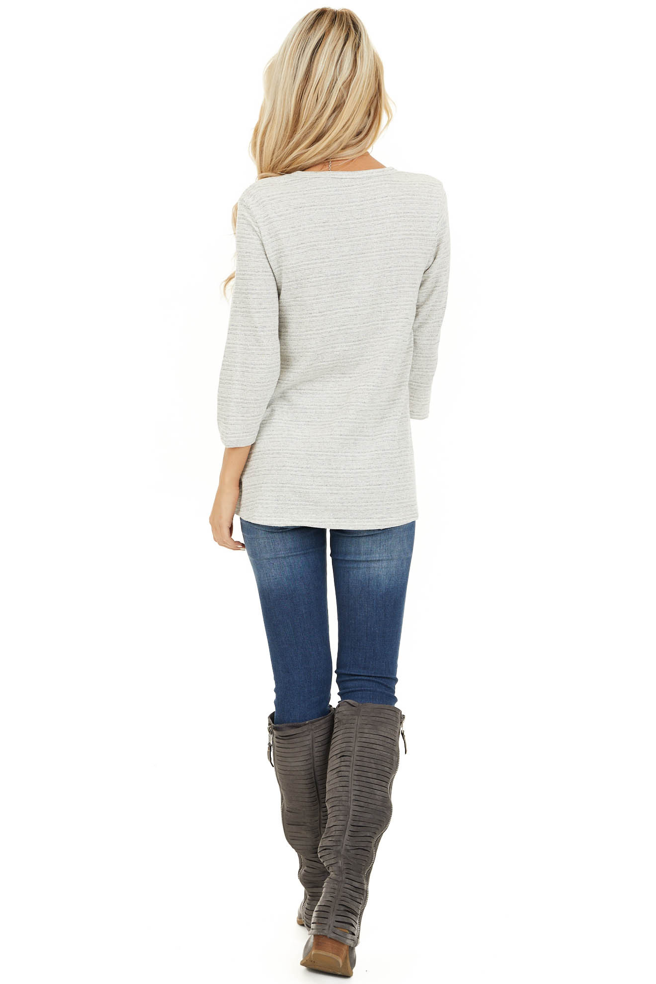 Off White and Light Grey Long Sleeve Top with Front Twist back full body