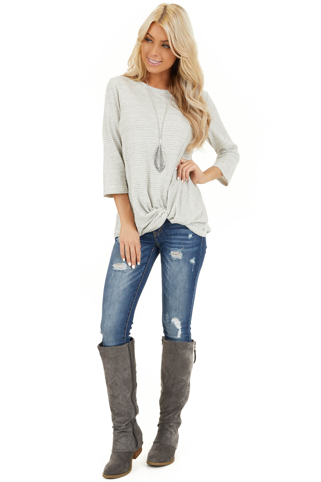 Off White and Light Grey Long Sleeve Top with Front Twist front full body