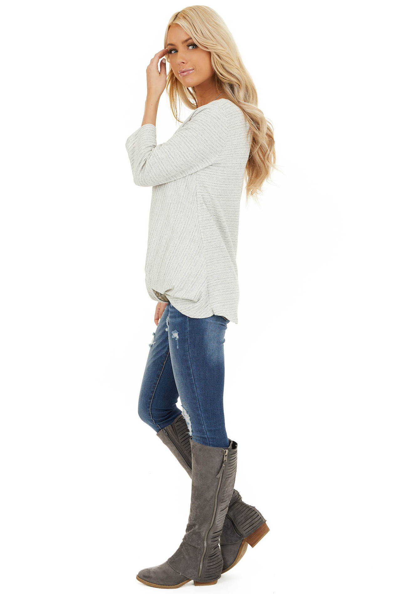 Off White and Light Grey Long Sleeve Top with Front Twist side full body