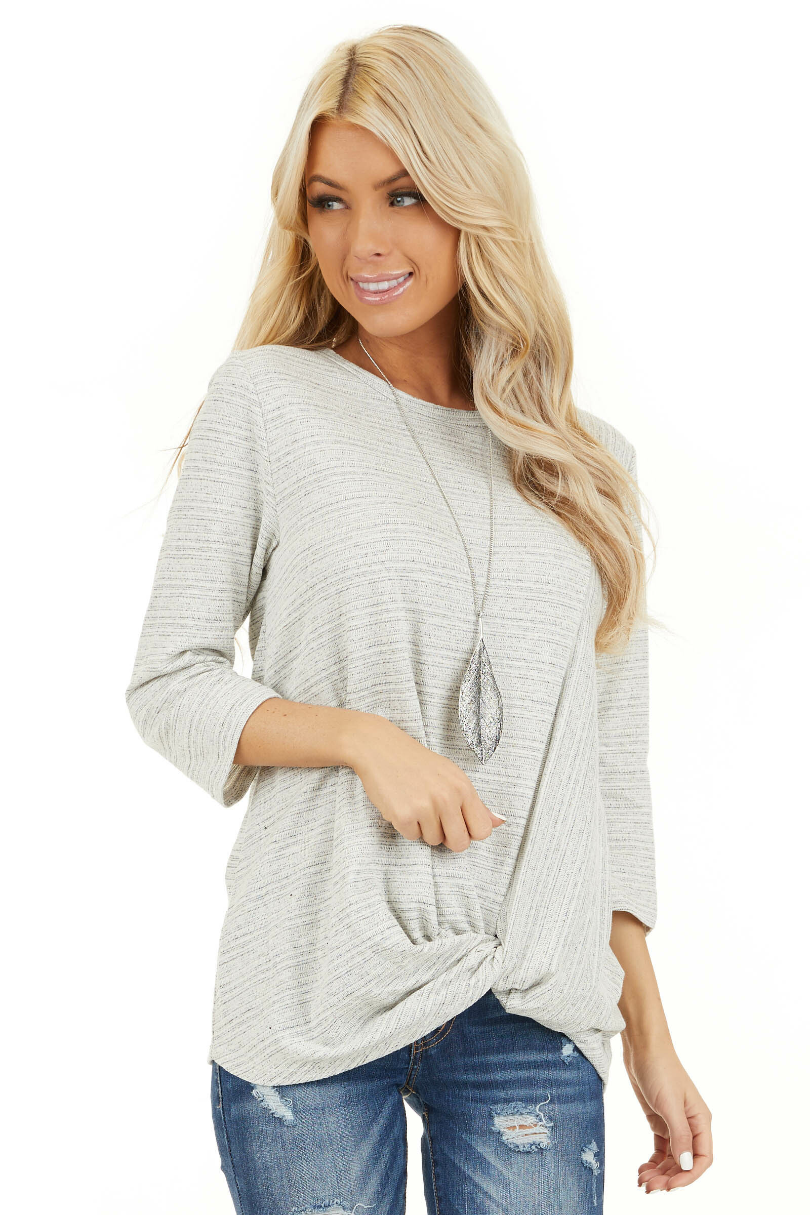 Off White and Light Grey Long Sleeve Top with Front Twist front close up