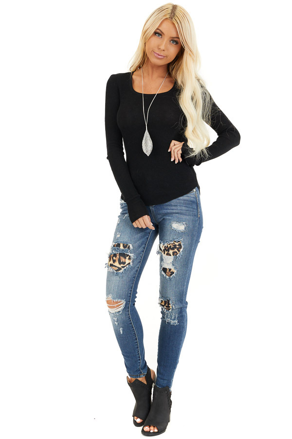 Black Scoop Neck Ribbed Knit Top with Long Sleeves front full body