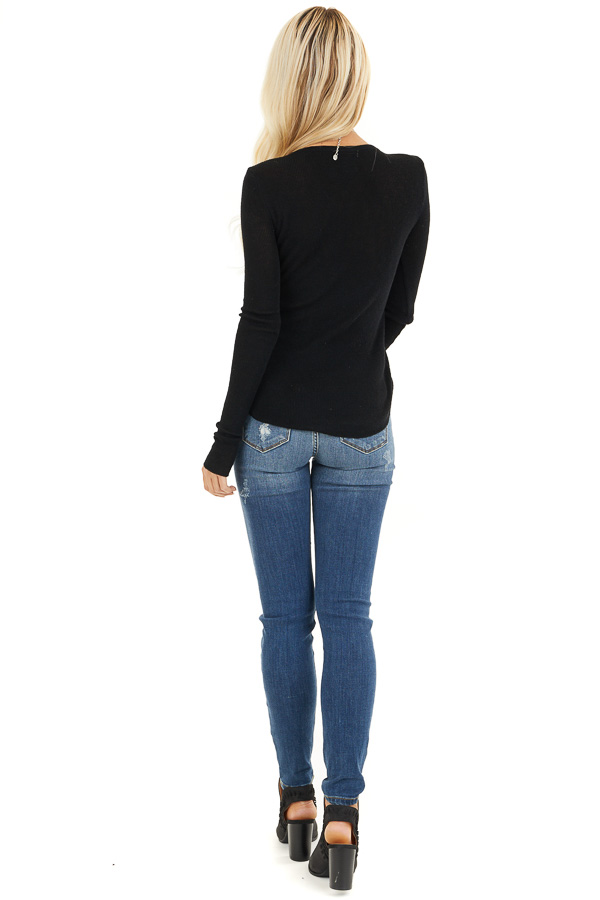 Black Scoop Neck Ribbed Knit Top with Long Sleeves back full body