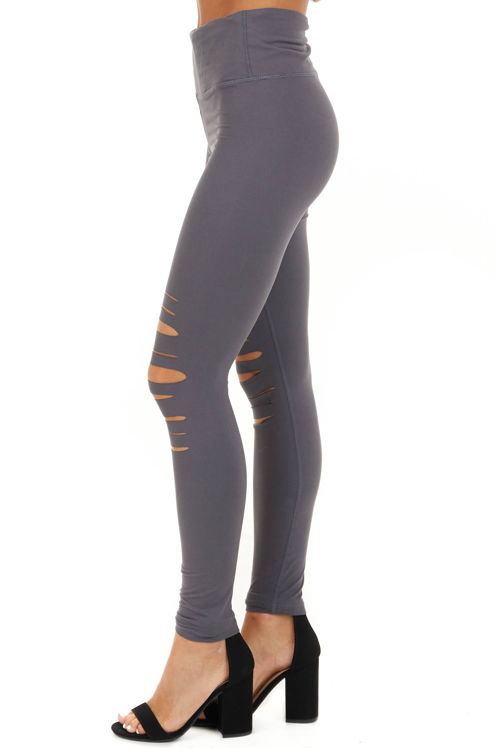Charcoal Solid Leggings with Laser Cutout Details side view