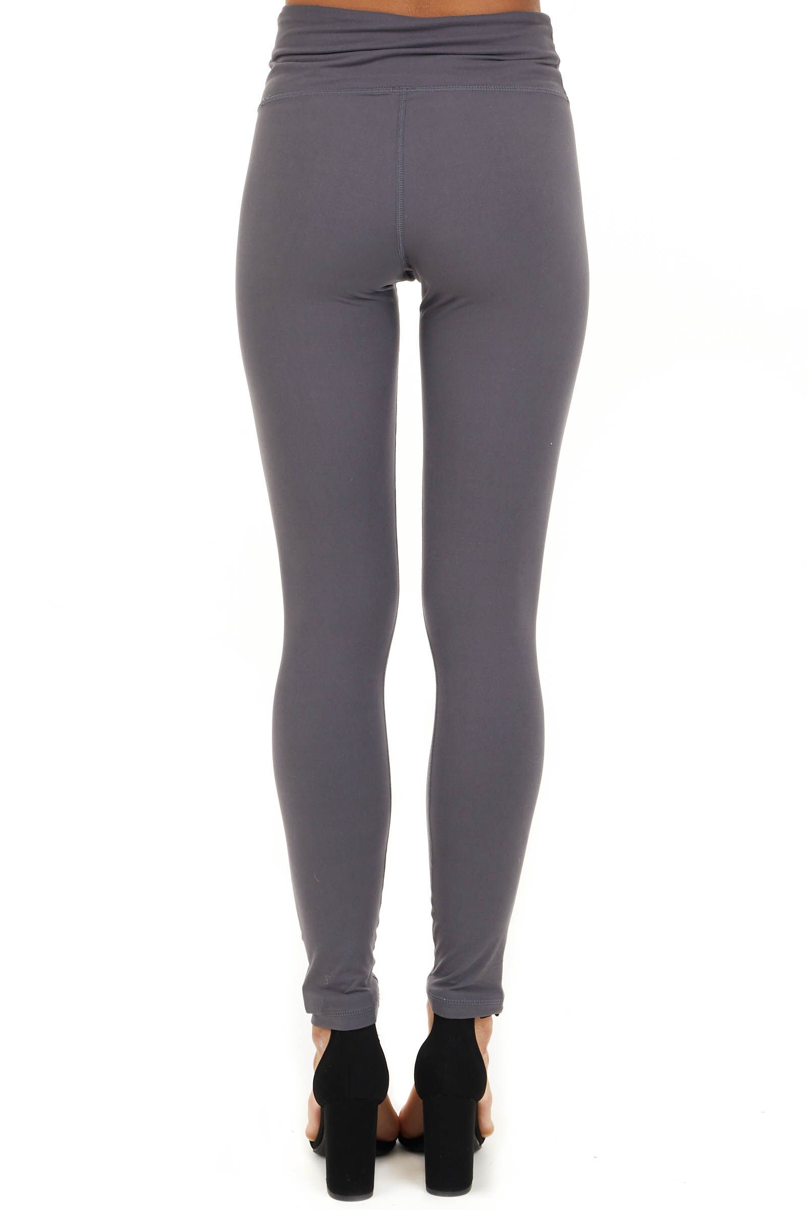 Charcoal Solid Leggings with Laser Cutout Details back view
