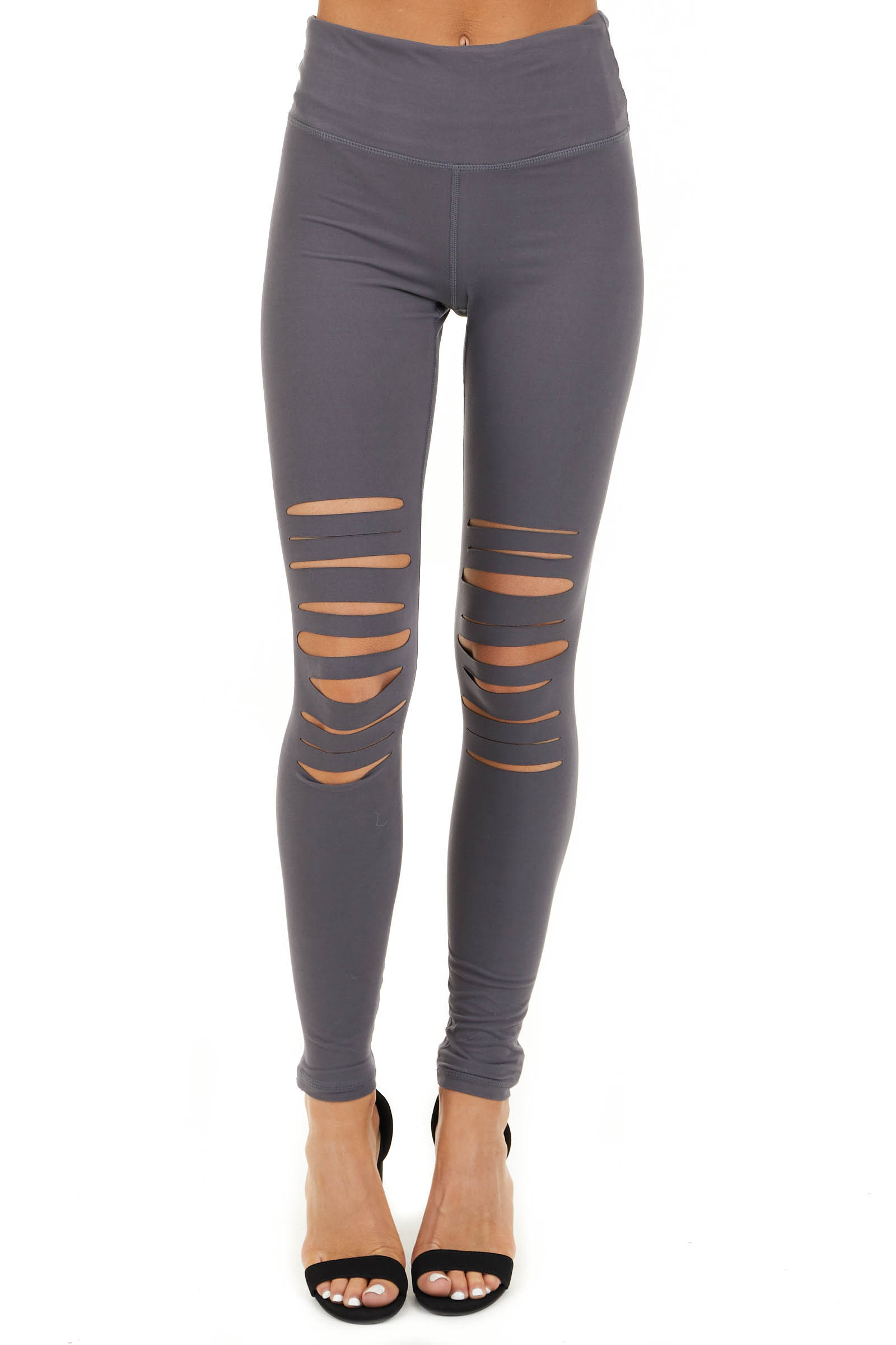 Charcoal Solid Leggings with Laser Cutout Details front view