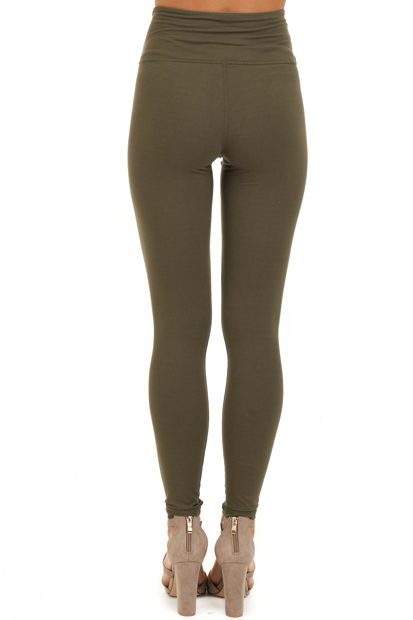 Olive Solid Leggings with Laser Cutout Details back view