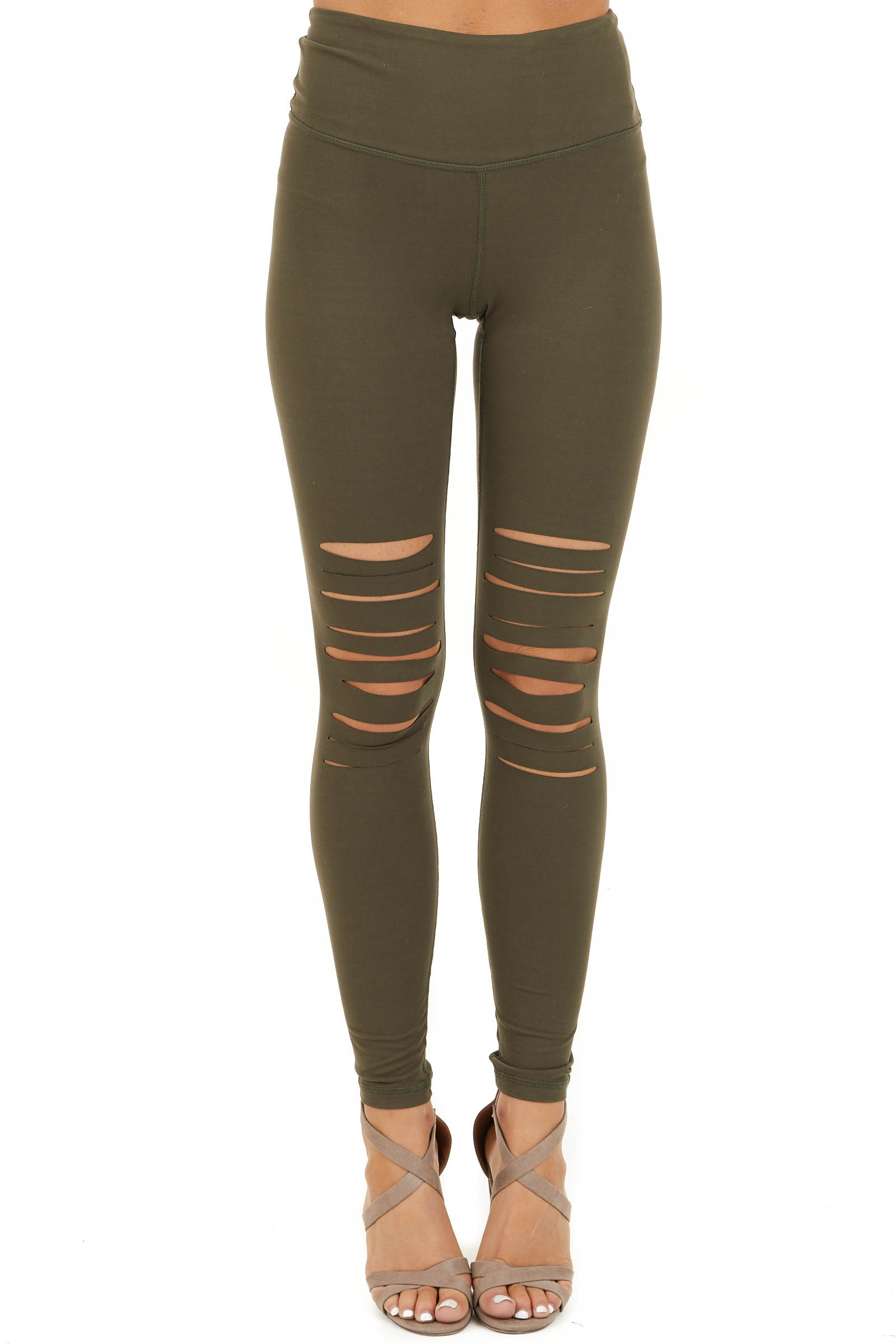 Olive Solid Leggings with Laser Cutout Details front view