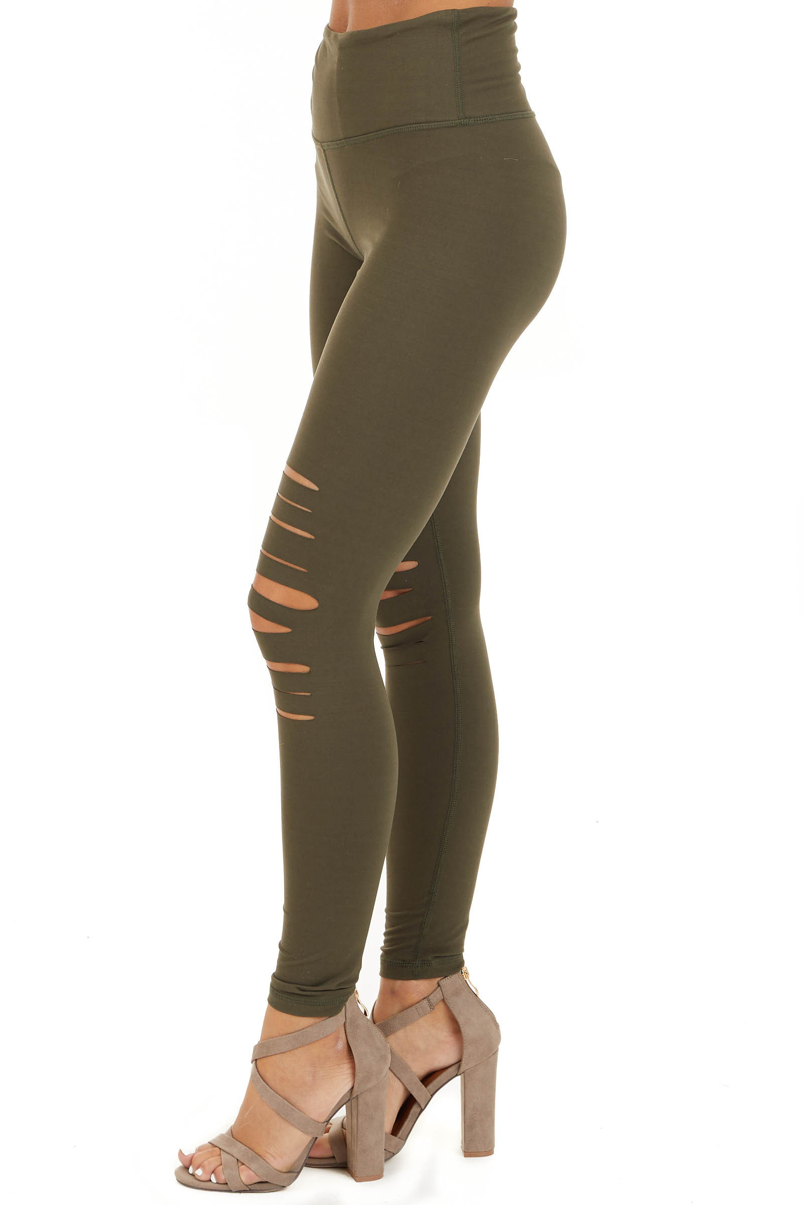 Olive Solid Leggings with Laser Cutout Details side view