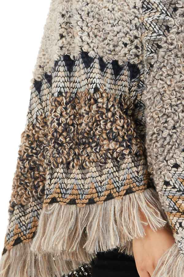 Taupe Multicolor Boho Style Poncho Top with Fringed Hemline detail