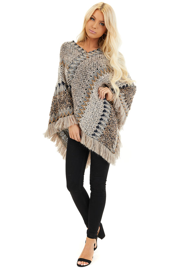 Taupe Multicolor Boho Style Poncho Top with Fringed Hemline front full body