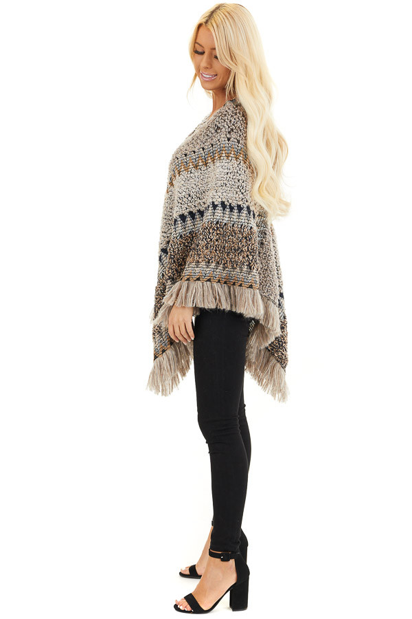 Taupe Multicolor Boho Style Poncho Top with Fringed Hemline sde full body