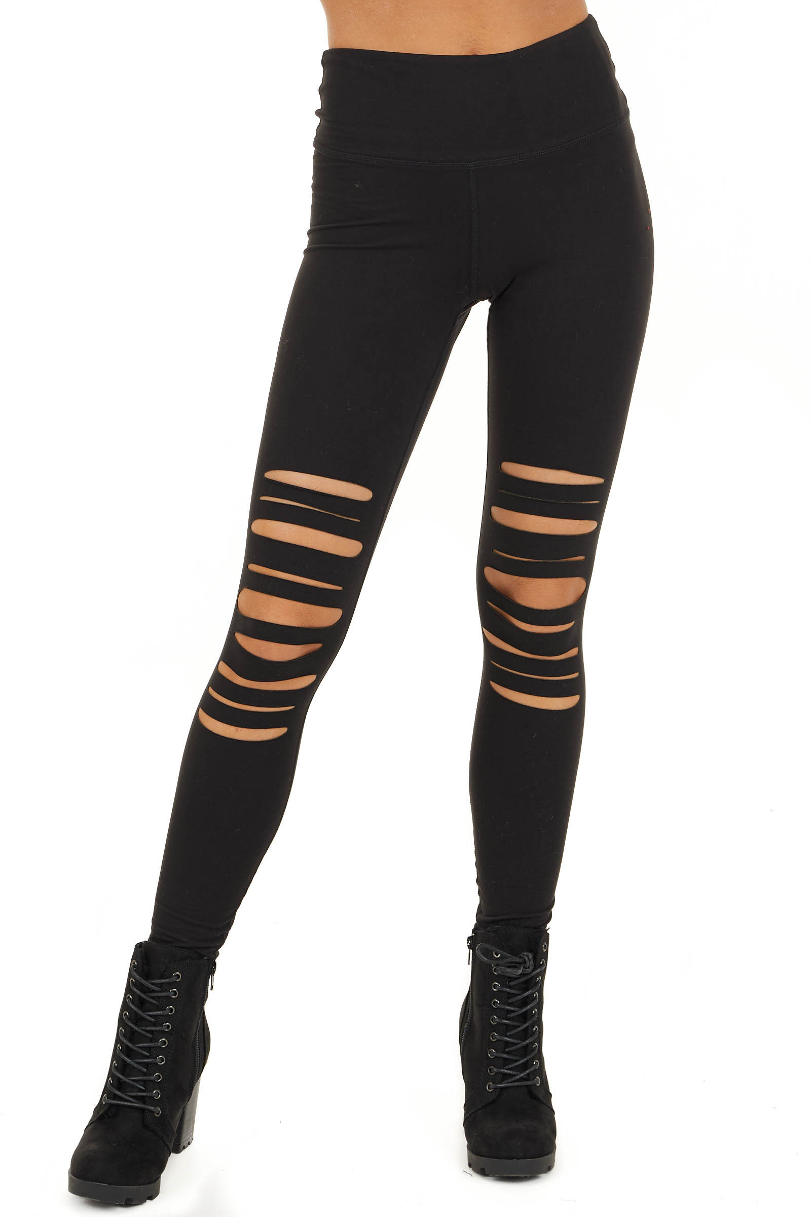Black Solid Leggings with Laser Cutout Details front view