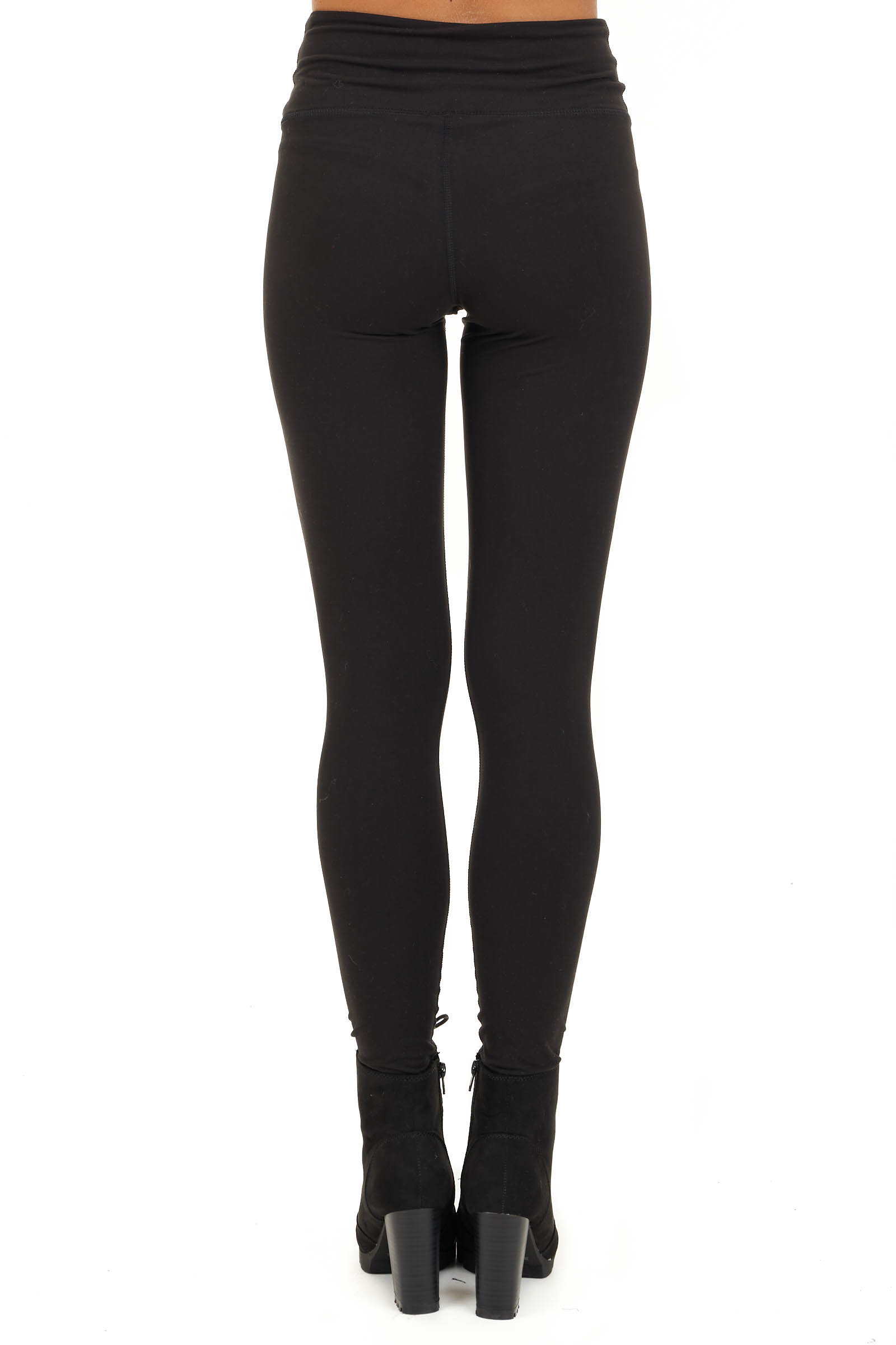 Black Solid Leggings with Laser Cutout Details back view