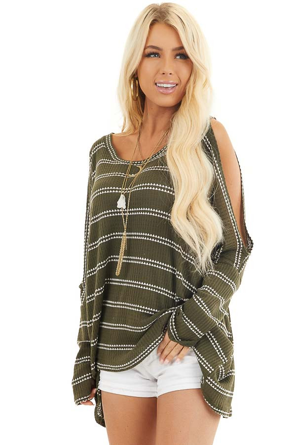 Olive Striped Waffle Knit Tunic Top with Cold Shoulders front close up