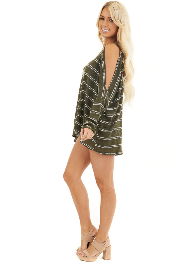 Olive Striped Waffle Knit Tunic Top with Cold Shoulders side full body