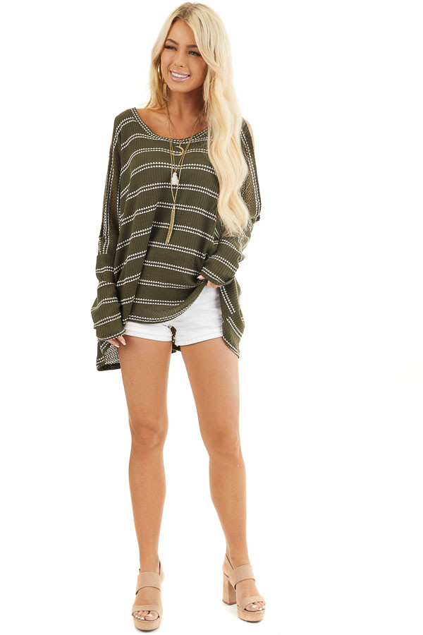 Olive Striped Waffle Knit Tunic Top with Cold Shoulders front full body
