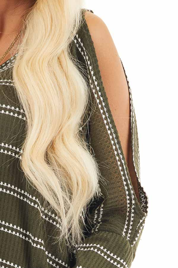 Olive Striped Waffle Knit Tunic Top with Cold Shoulders detail