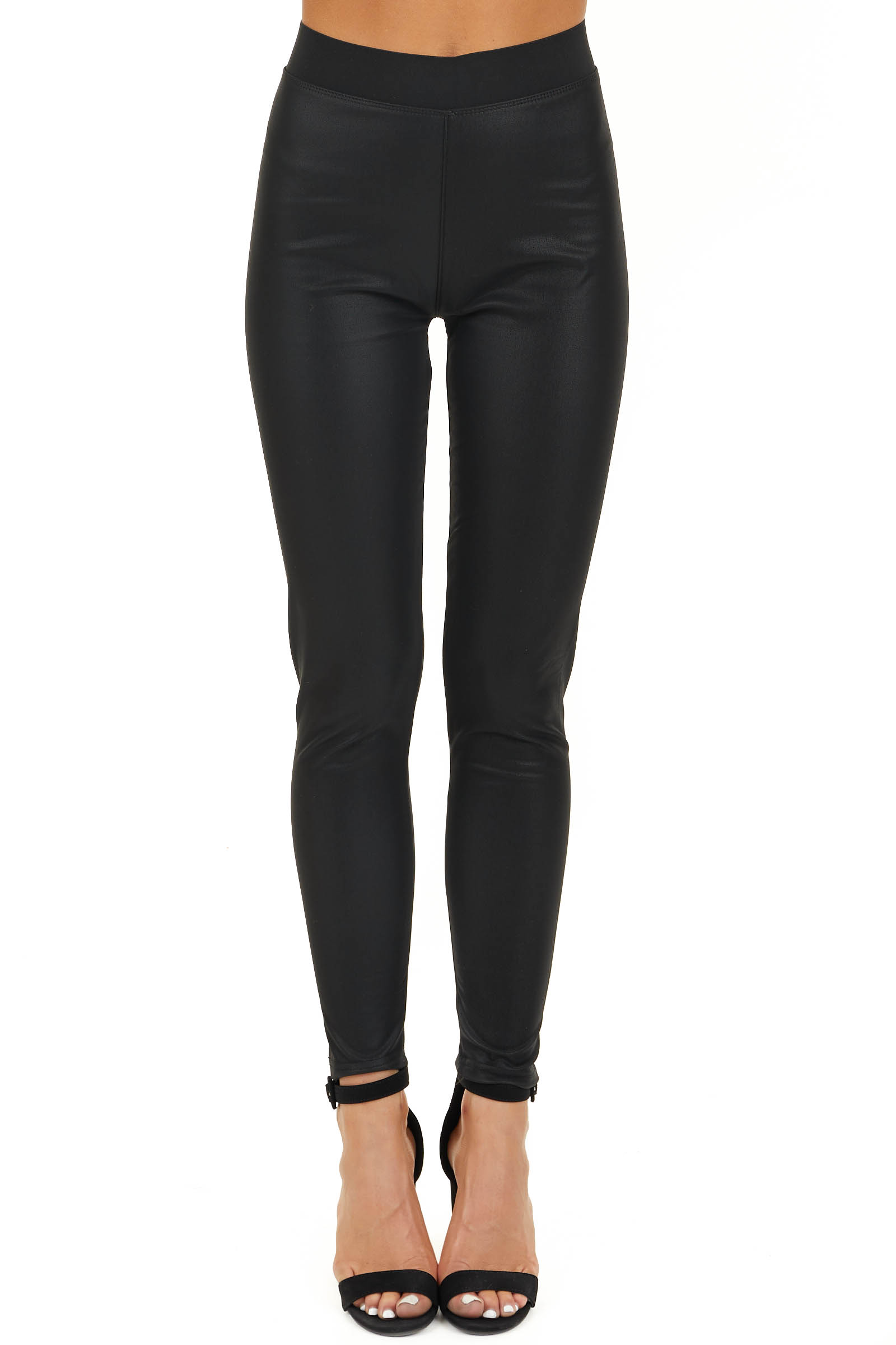 Black Faux Leather Fleece Lined Leggings with Elastic Waist front view