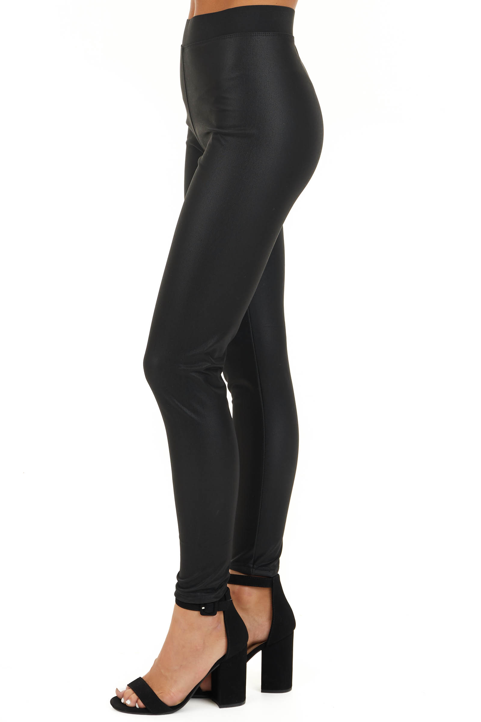 Black Faux Leather Fleece Lined Leggings with Elastic Waist side view