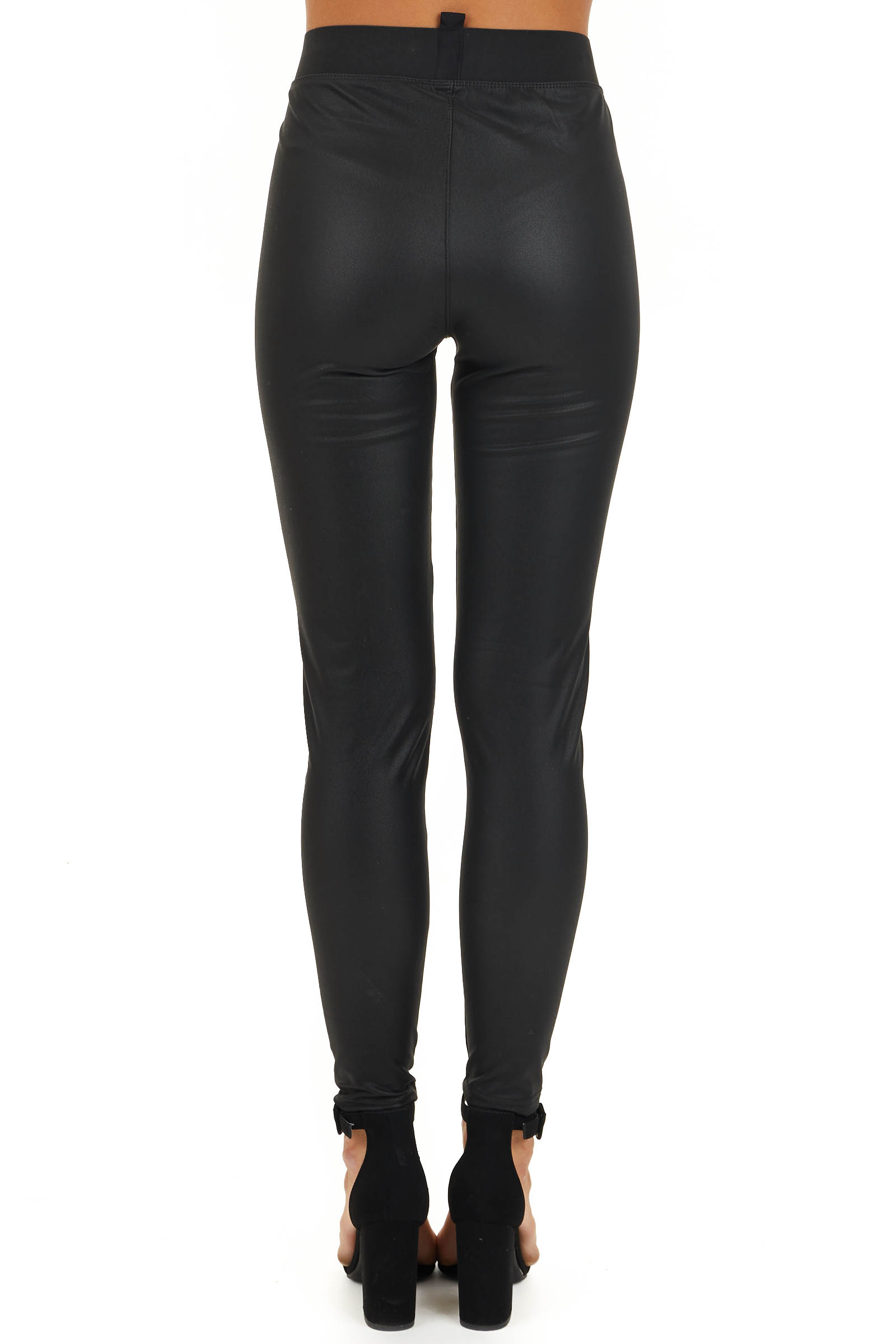 Black Faux Leather Fleece Lined Leggings with Elastic Waist back view