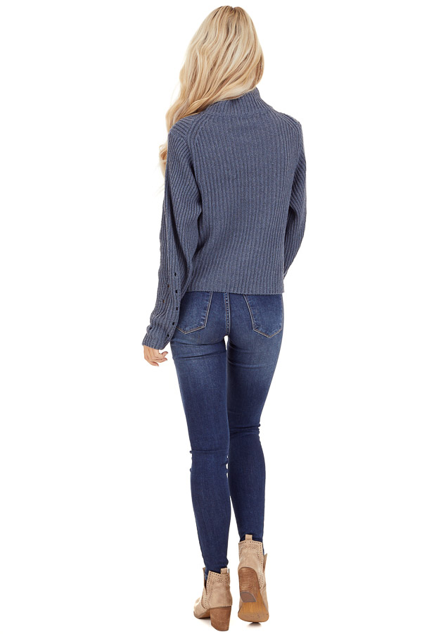 Steel Blue Long Sleeve Cable Knit Sweater with Mock Neckline back full body