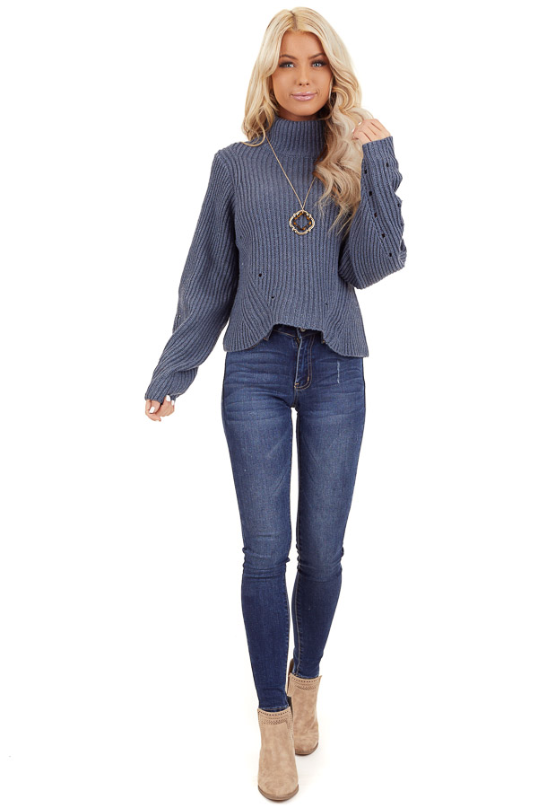 Steel Blue Long Sleeve Cable Knit Sweater with Mock Neckline front full body