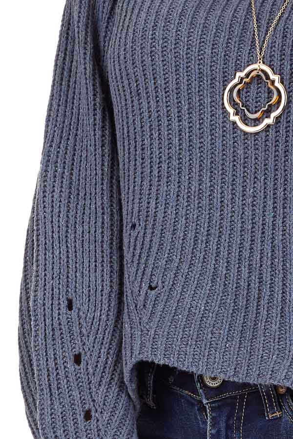Steel Blue Long Sleeve Cable Knit Sweater with Mock Neckline detail