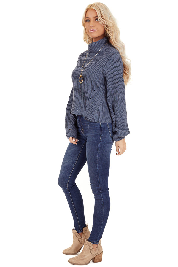 Steel Blue Long Sleeve Cable Knit Sweater with Mock Neckline side full body