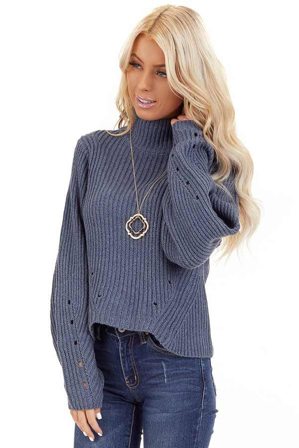 Steel Blue Long Sleeve Cable Knit Sweater with Mock Neckline front close up