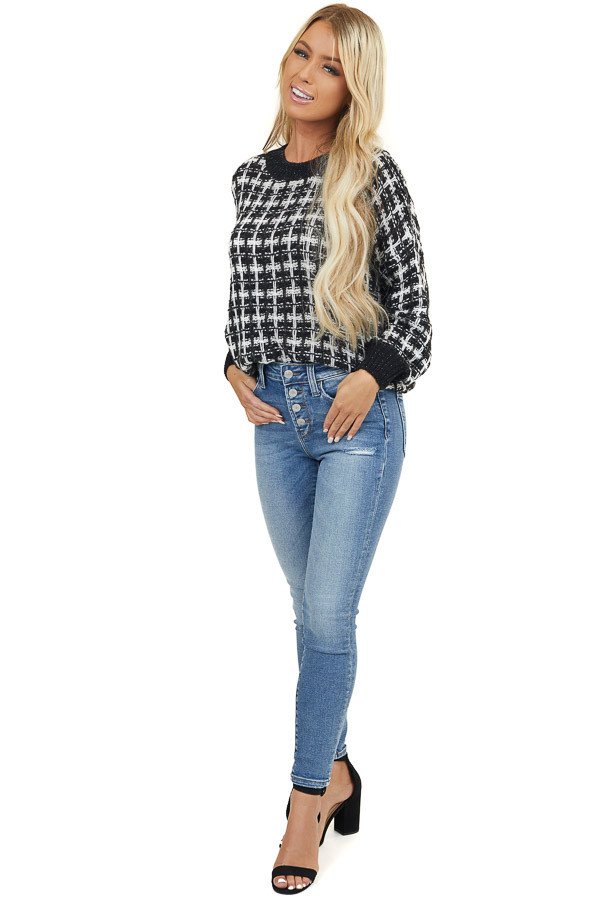 Black and White Textured Plaid Sweater with Puff Sleeves