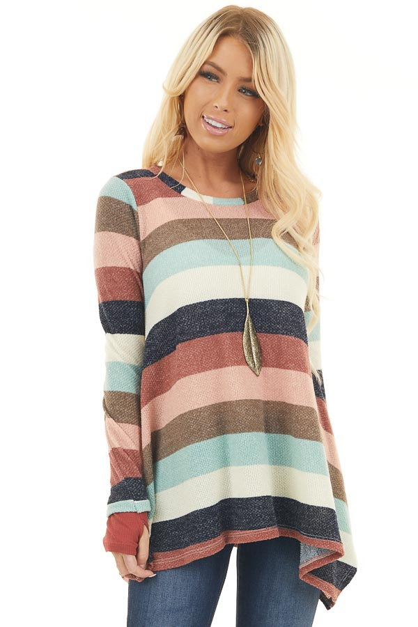 Multi Color Striped Long Sleeve Asymmetrical Tunic Top