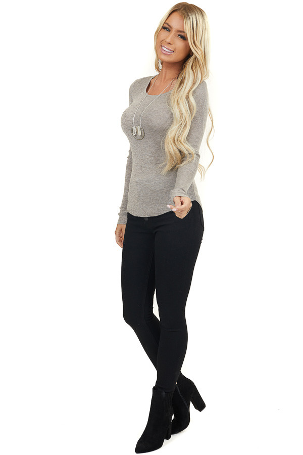 Taupe Scoop Neck Ribbed Knit Top with Long Sleeves