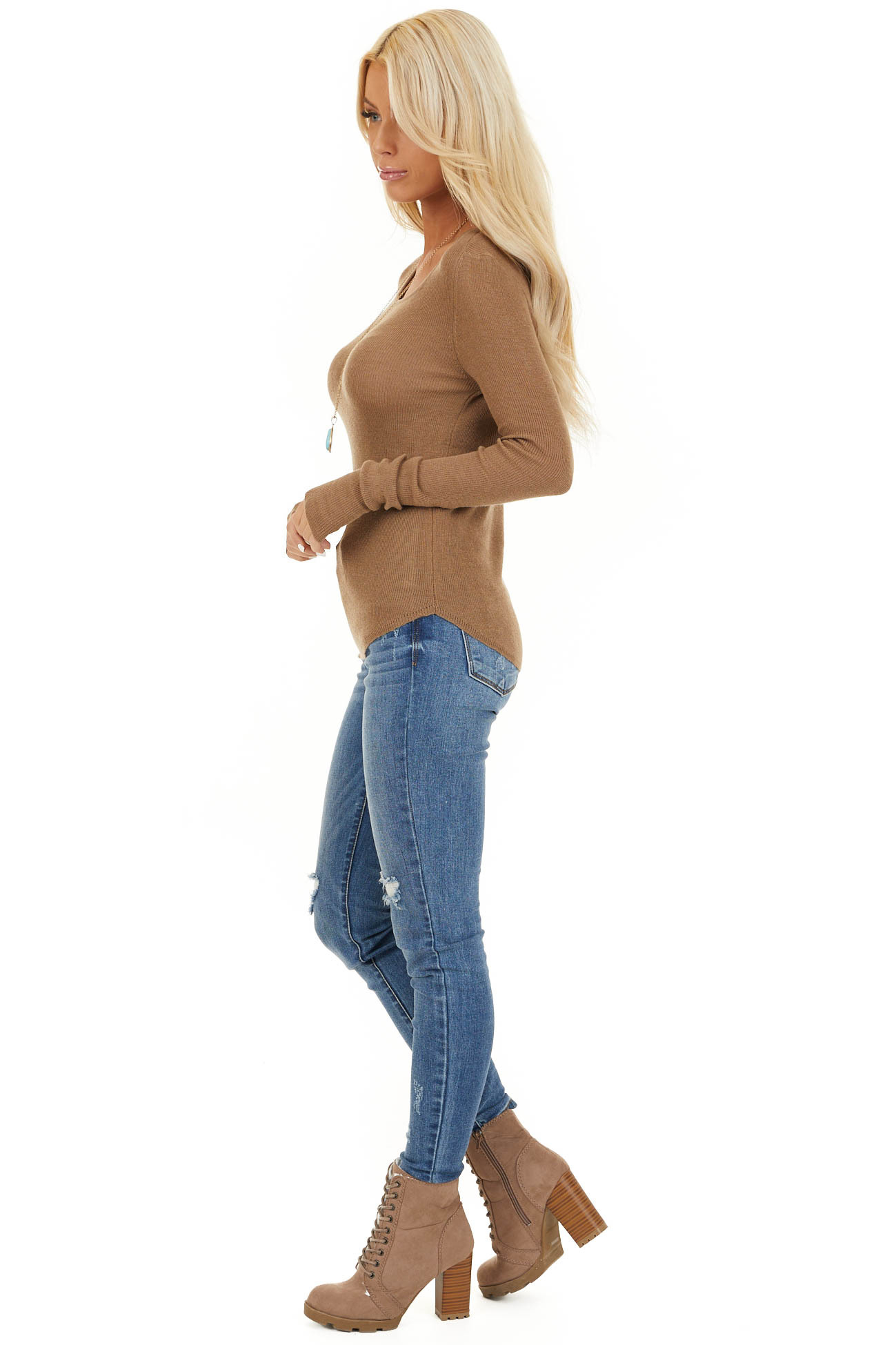 Dark Beige Scoop Neck Ribbed Knit Top with Long Sleeves side full body