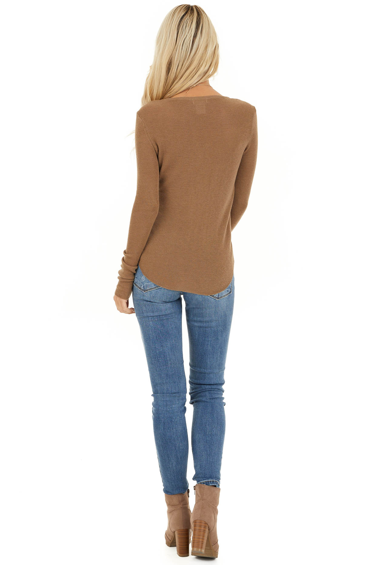 Dark Beige Scoop Neck Ribbed Knit Top with Long Sleeves back full body