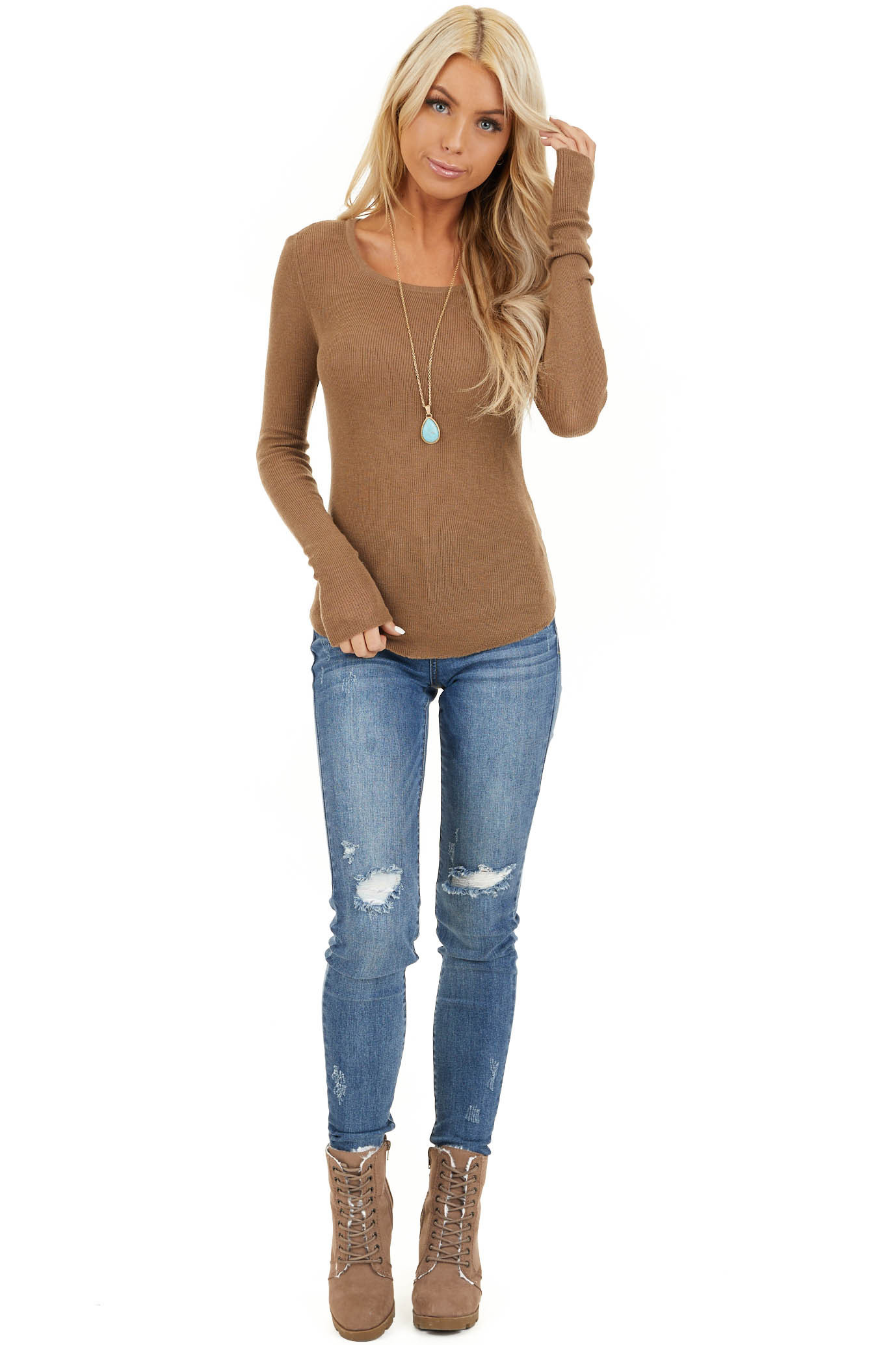 Dark Beige Scoop Neck Ribbed Knit Top with Long Sleeves front full body