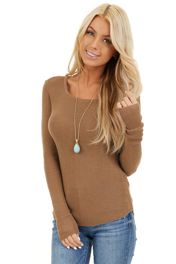 Dark Beige Scoop Neck Ribbed Knit Top with Long Sleeves front close up