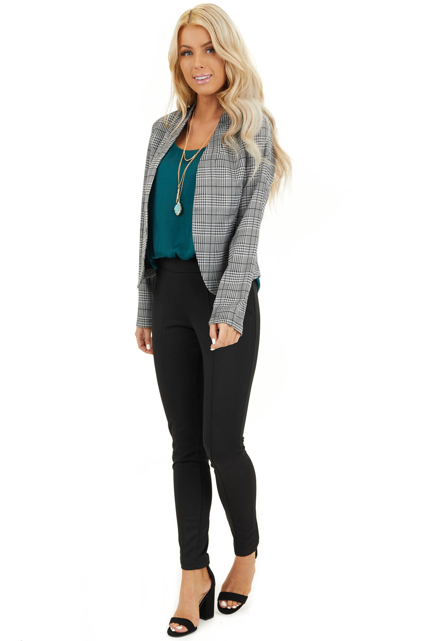 Black and Ivory Glen Plaid Fitted Blazer with Long Sleeves front full body