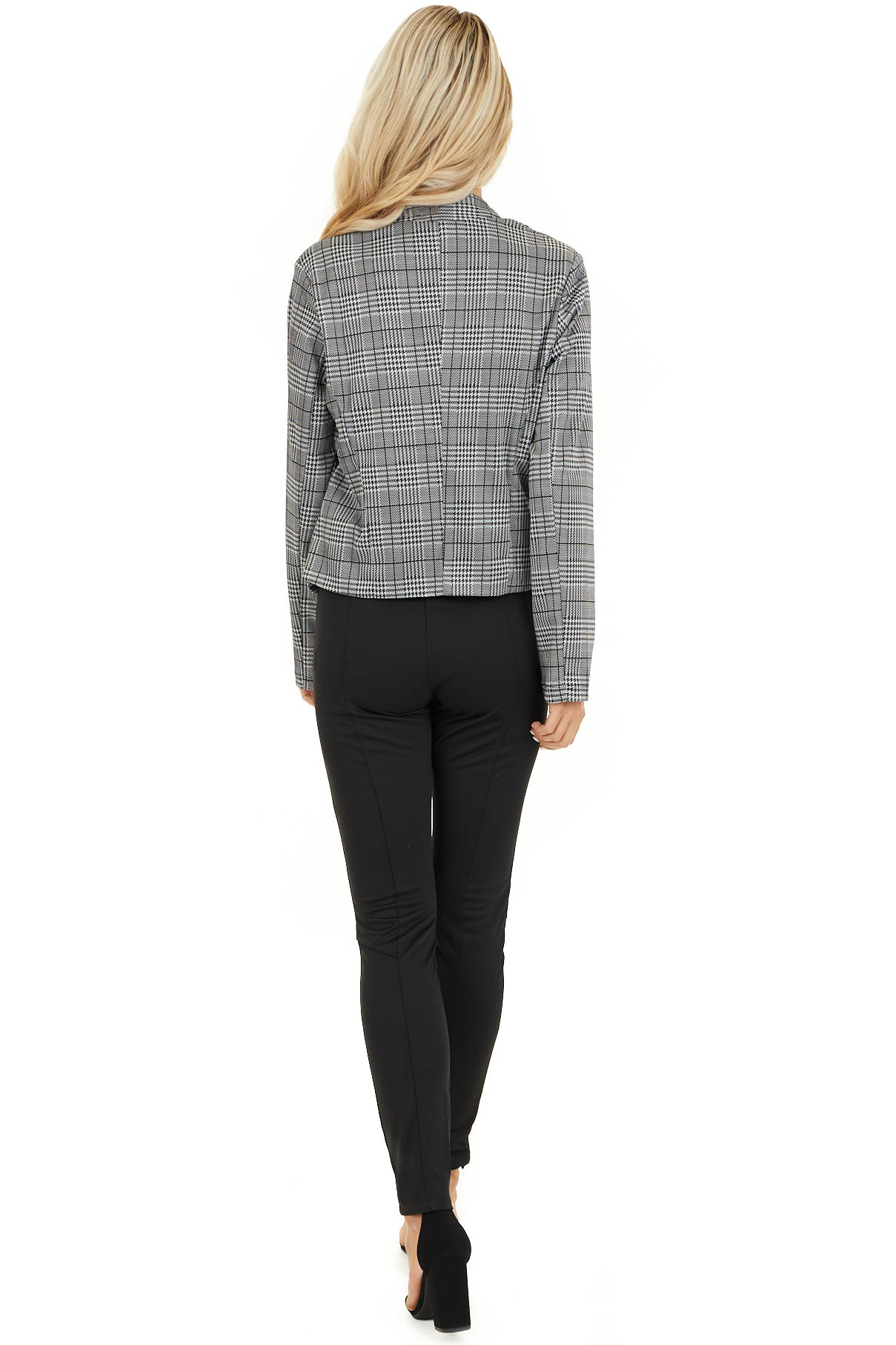 Black and Ivory Glen Plaid Fitted Blazer with Long Sleeves back full body