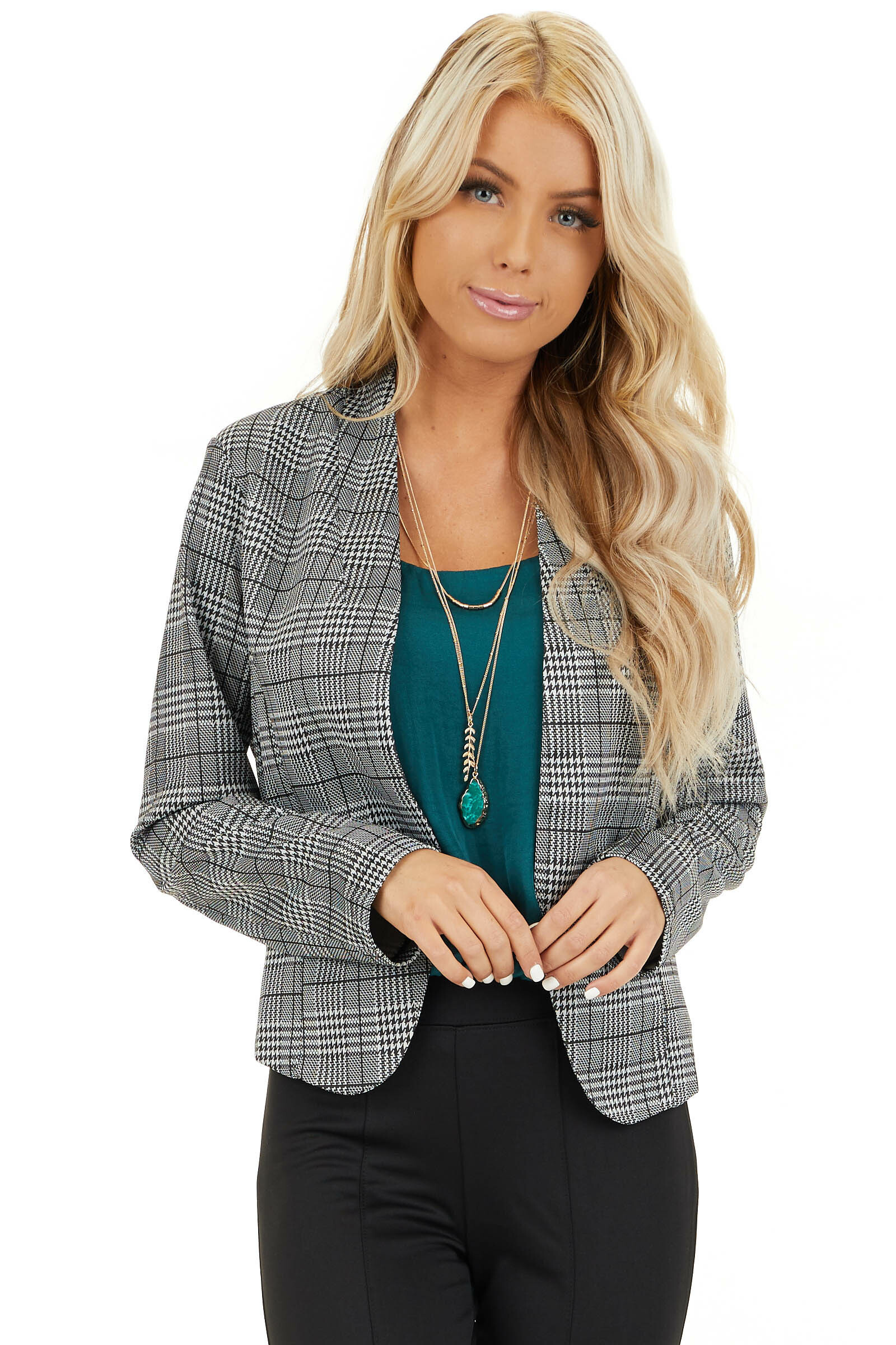 Black and Ivory Glen Plaid Fitted Blazer with Long Sleeves front close up
