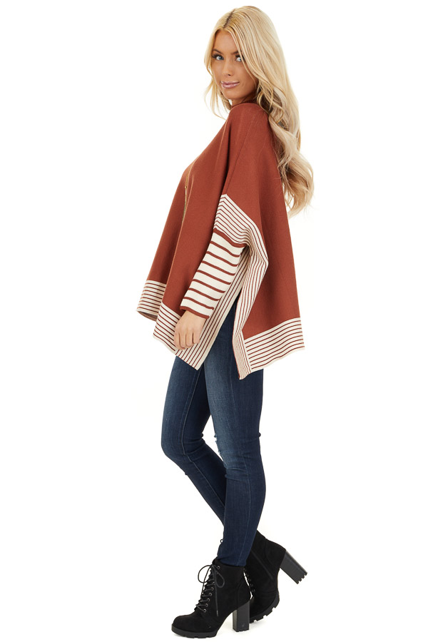 Rust Long Sleeve Mock Neck Poncho Style Top with Side Slits side full body