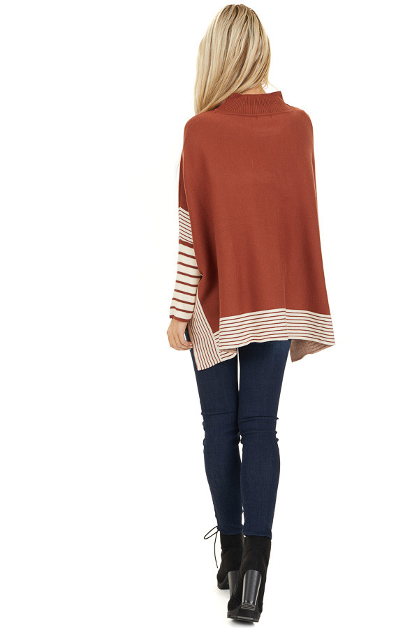 Rust Long Sleeve Mock Neck Poncho Style Top with Side Slits back full body